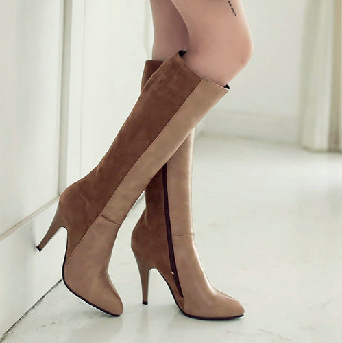 ФОТО Gladiator Shoes Woman 2017 Winter Boots Pointed toe Warm Fur Black Brown High Heel Knee High Boots Snow Boots Knight Boots