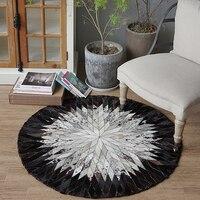Ручной работы кожаный сшивание круглый ковер кабинет черно белый компьютерный стул, гостиная журнальный столик коврики прикроватный коври
