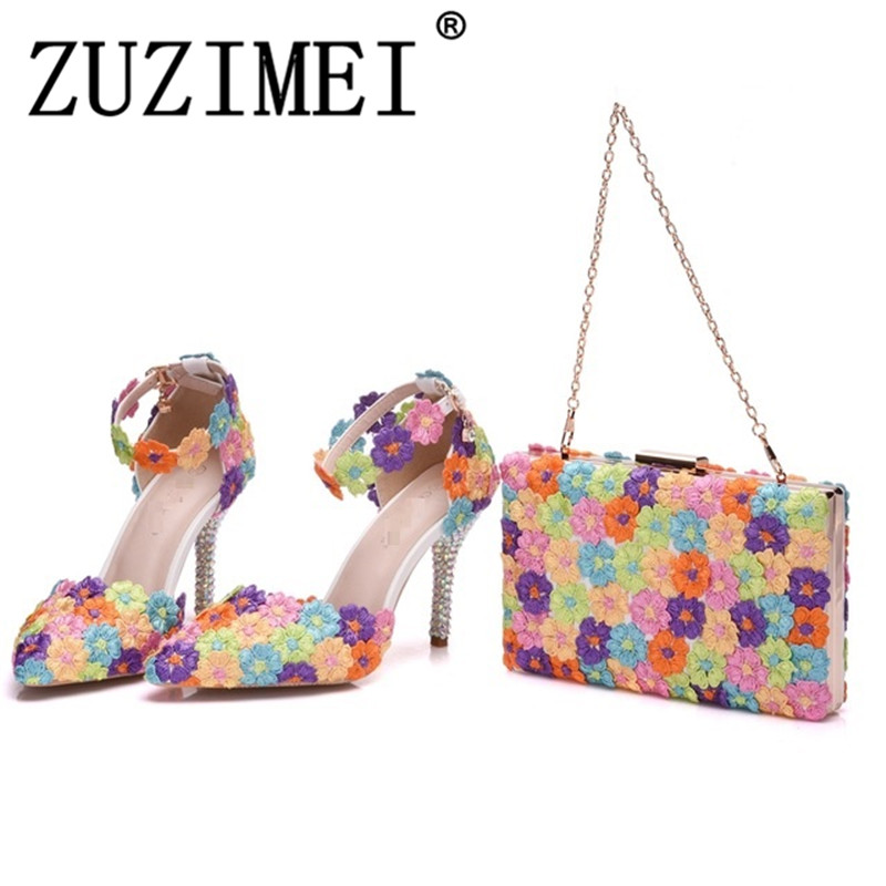 Multicolor Flower Shining Womens Sandals Wedding Shoes Matching bags Clutches 9CM High Heels Female Pumps PartyMulticolor Flower Shining Womens Sandals Wedding Shoes Matching bags Clutches 9CM High Heels Female Pumps Party