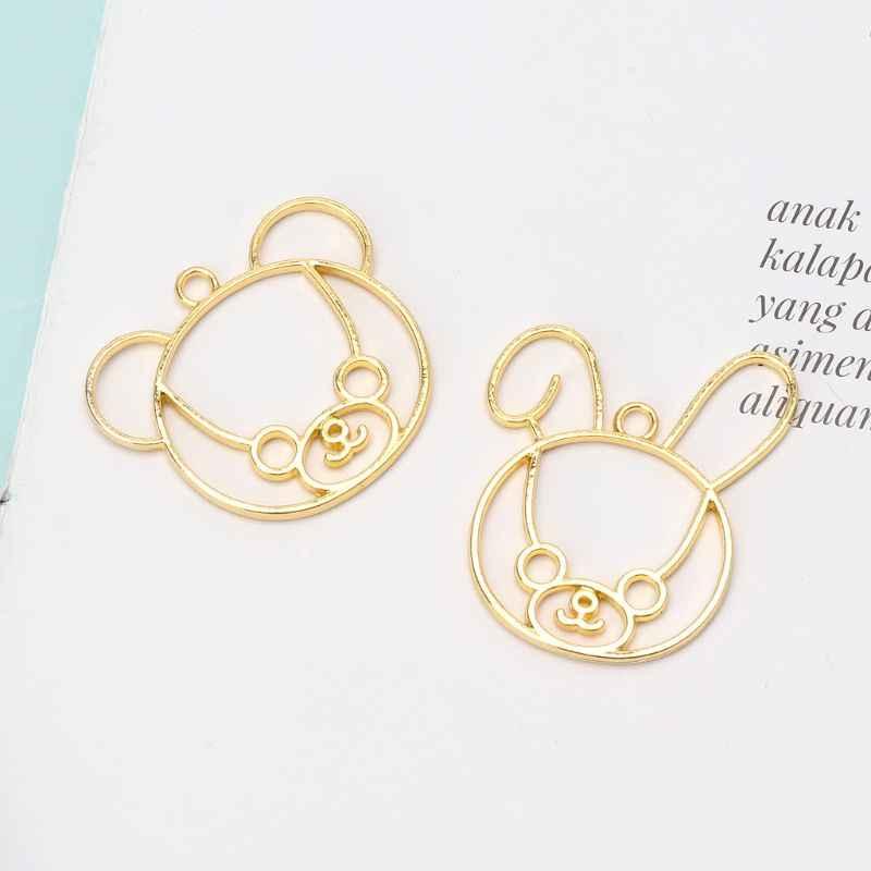 2 Pcs الدب أرنب مجوهرات الإطار DIY الأشعة فوق البنفسجية إطار المعلقات الفتح مدي إعداد مجوهرات من مادة الراتنج صنع