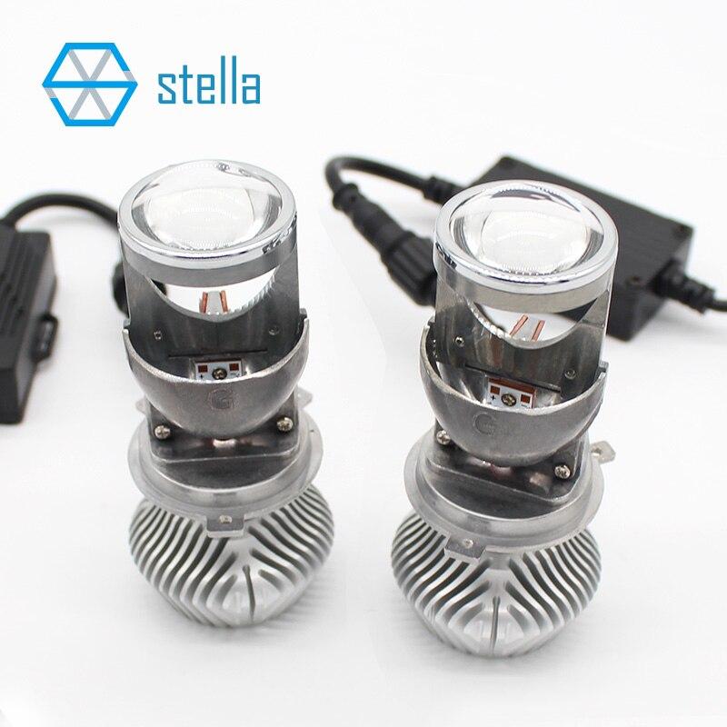 H4 LED salut-lo avec mini projecteur lentille phares pour voiture faisceau clair motif 12 v 6000 k résoudre astigmate problème garantie à vie
