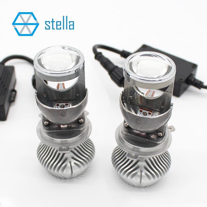 2 stücke H4 LED hallo-lo mini projektor objektiv scheinwerfer für auto klar strahl muster 12 v 6000 karat keine astigmatismus problem lebenslange garantie