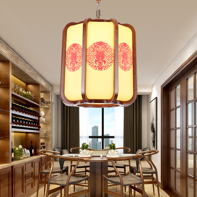 Chinese style coffee wood art pendant lights Retro classical yellow parchment indoor E27 LED lamps for corridor&porch MYR044