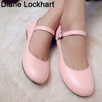 New Fashion Women Buckle Strap Mary Jane Flat Shoes Gril Casual Round Toe Sweet Ballet Flat Ankle Strap Larger Size 31 32 33 42