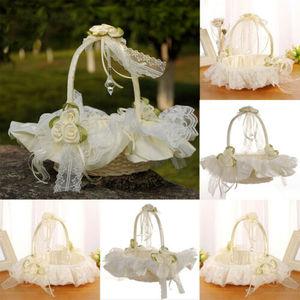 Image 2 - יפה סאטן Bowknot ילדה פרח סל לחתונה טקס מסיבת שנהב מתנה 2019 חדש