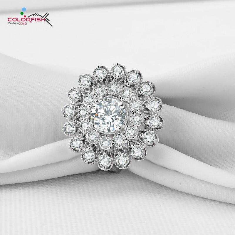 COLORFISH luxe 2.5 Carat grande fleur forme Double Halo anneaux 925 argent Sterling déclaration bague de fiançailles des femmes de mariage