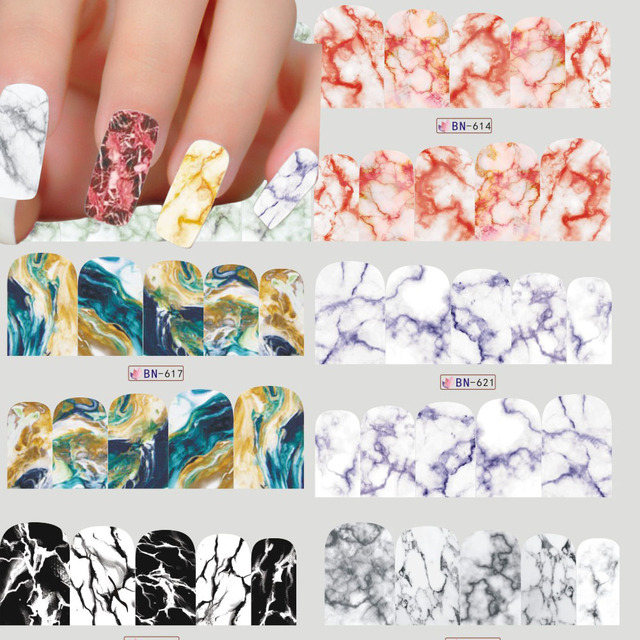 1 Sheets Marble Image Water Transfer Sticker Nail Art Full Cover