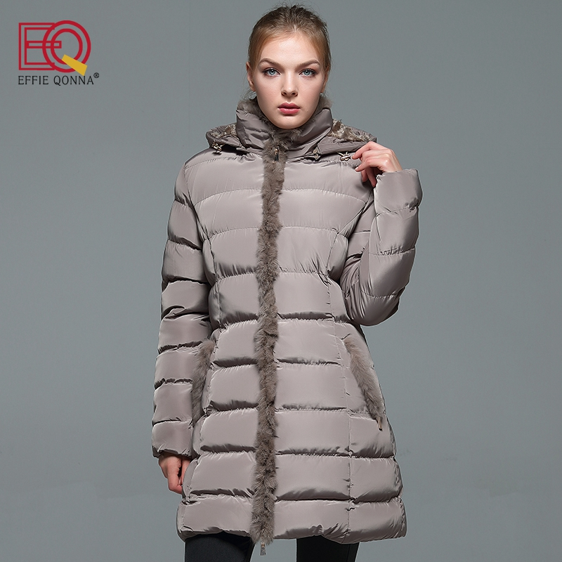 2018 New Arrival Fashion Winter Blank Faux Fur Stitched Hooded Women Long Sleeve Parkas Ladies Khaki Slimming Fall outwear Coats