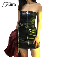 FHTEX Black PU Leather Bodycon Dress Front Zip Slim Fit Casual Dress Off Shoulder Belted Chain Women Spring Dresses vestidos