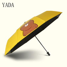 YADA Yellow Bear Pattern Outdoor creativity Umbrella Rain Women uv Windproof Charms For Womens Folding Umbrellas YS059