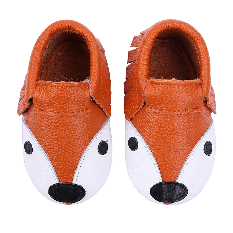 NEW Genuine Leather Soft Sole Baby Girl Shoes Slippers Toddler Mocassins 0-6 6-12 12-18 18-24 Baby First Walker Shoes Fox