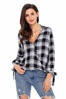 친애하는 애인 봄 블라우스 여성 긴 소매 블랙 레드 옷깃 격자 무늬 드레이프 최고 캐주얼 여성스러운 의류 셔츠 Blusa Camisas LC250454