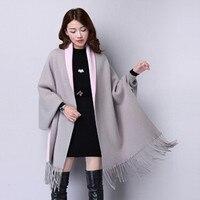 2019 Autumn New Women's Elegant Socialite Cashmere Tassel Cardigan Sweaters Batwing Sleeves plus size Outwear Good Quality shawl
