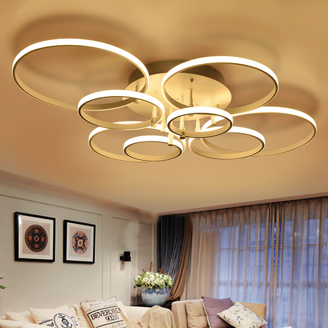 modern led ceiling light fixture led ring lustre light flush mounted led circles lamp for living. Black Bedroom Furniture Sets. Home Design Ideas