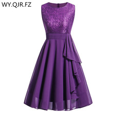 OML 522#Chiffon and Lace purple Short Bridesmaid Dresses Weddiong Party Dress 2019 Prom Gown Womens  Fashion Wholesale Clothing