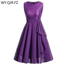 OML 522 # şifon ve dantel mor kısa gelinlik modelleri Weddiong parti elbise 2019 balo elbisesi kadın moda toptan giyim