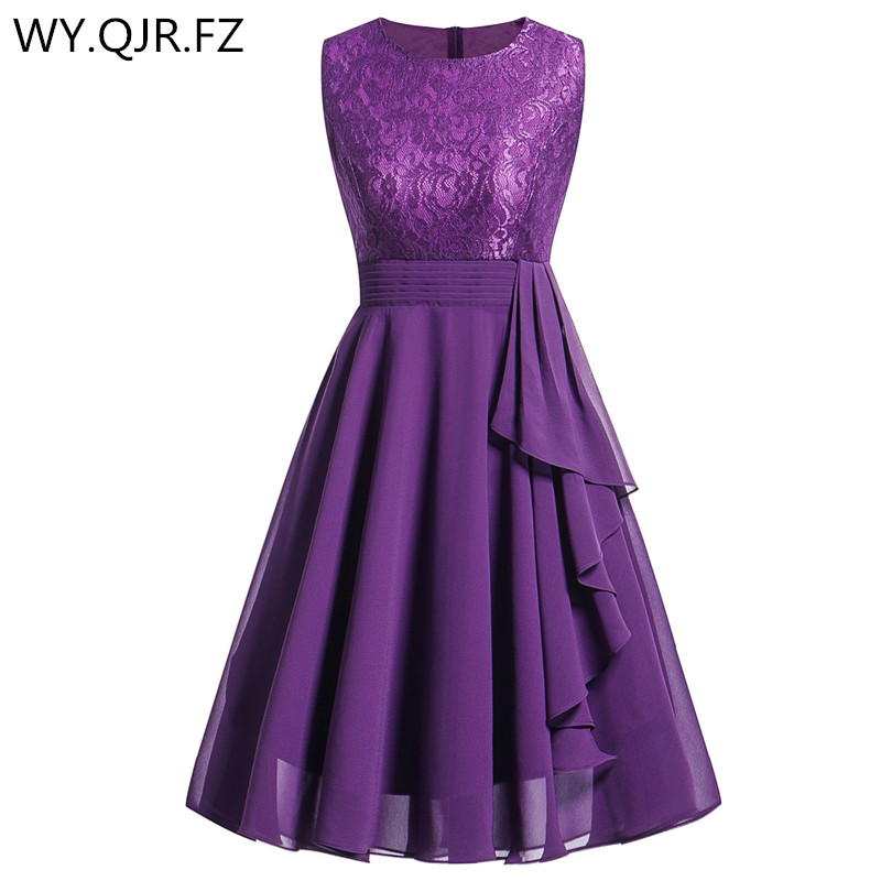 OML522L#Chiffon and Lace purple Short Bridesmaid Dresses Weddiong Party Dress 2019 Prom Gown Women's  Fashion Wholesale Clothing