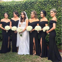 Elegant Black Mermaid Dresses Bridesmaid 2019 Side Split Off The Shoulder Simple Long Maid Of Honor Gowns Cheap Plus Size(China)
