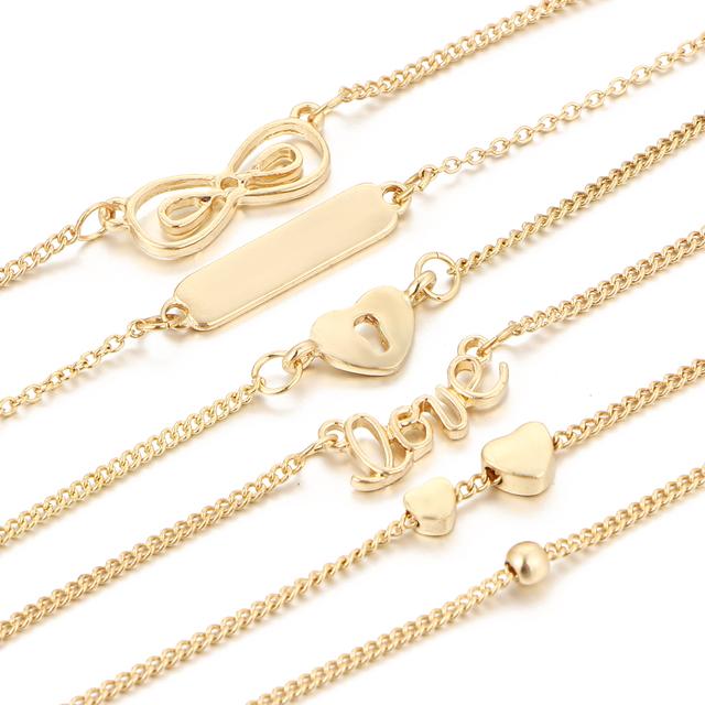 17KM 5Pcs/Set Alloy Hot New Bijoux Fashion Vintage Infinity 8 Bracelets For Women Bracelet Set Gift Wholesale Men Jewelry