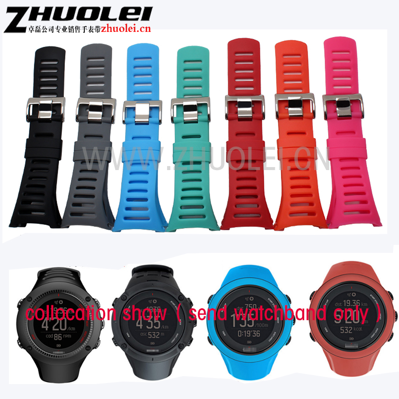 hot sell Watchband SUUNTO CORE & SUUNTO Ambit 1 2 3 2R 2S Men Watch's Rubber Strap Watch band Steel Buckle With Screwdriver soft silicone watch band rubber watch strap waterproof watchband for suunto ambit 1 2 3 watch