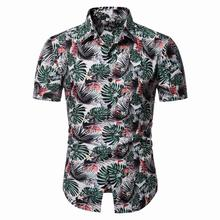 Plant Flower Shirt dress Floral Hawaiian Menswear Blouse Mens clothing Short Sleeve Summer New