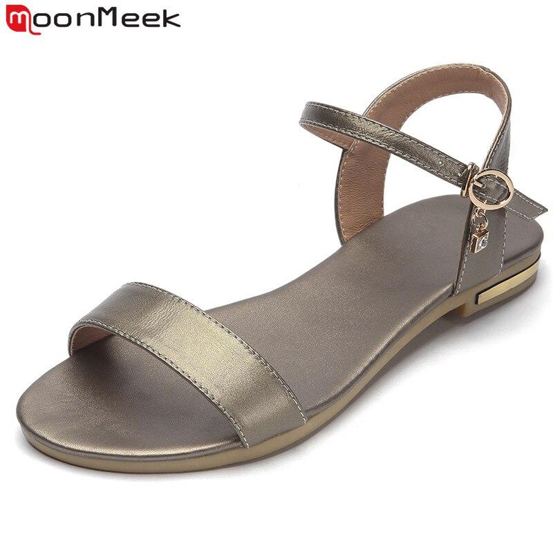 Moonmeek Sandals Women Shoes Rhinestone Female Summer Flat Genuine-Leather New Casual