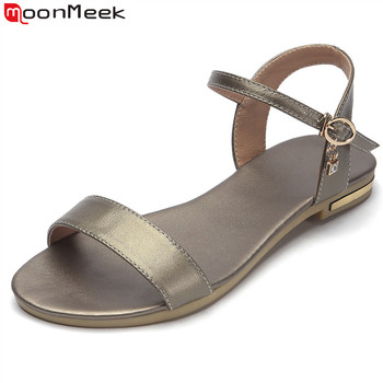 MoonMeek Size 34-46 New 2019 genuine leather sandals women shoes rhinestone female summer flat sandals ladies casual shoes
