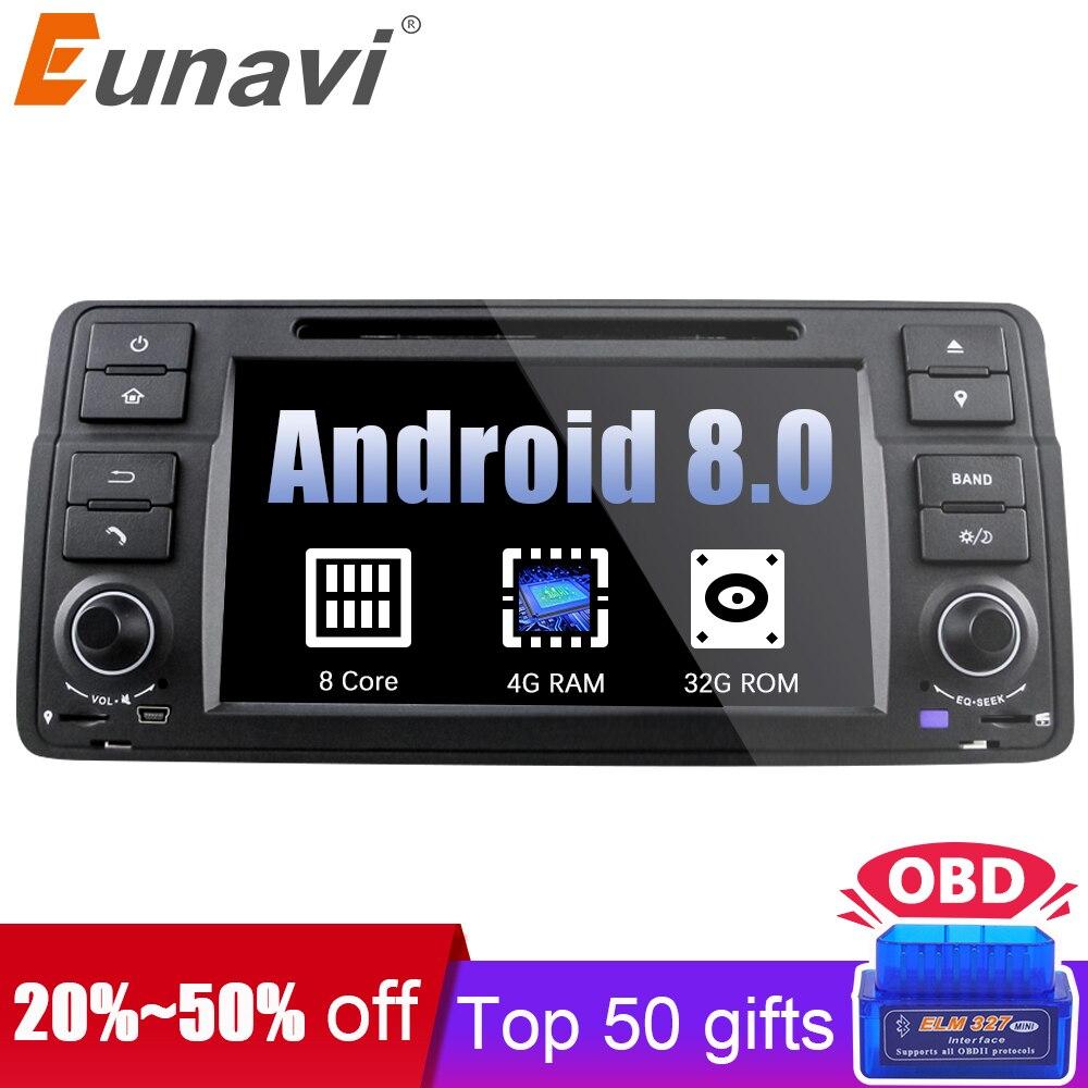 Eunavi 1 Din Octa 8 ядра Android 8,0 для BMW E46 M3 Rover 75 автомобильный dvd плеер gps Navi Wi Fi 4 г Радио RDS Canbus Оперативная память 4 ГБ Встроенная память 32 ГБ