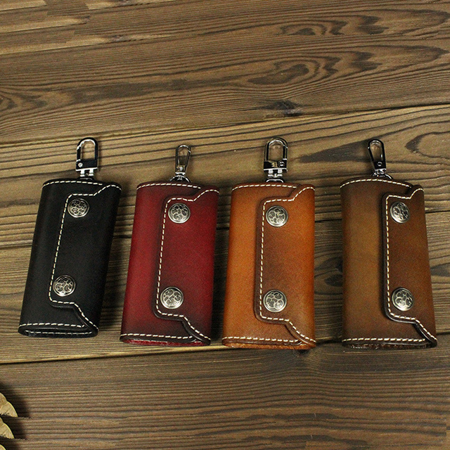 Men s Genuine Leather Vintage Retro Style Key Chain Wallet Men s Key Purse  Pouch Key Holder LD Q001 2a4f94dd3