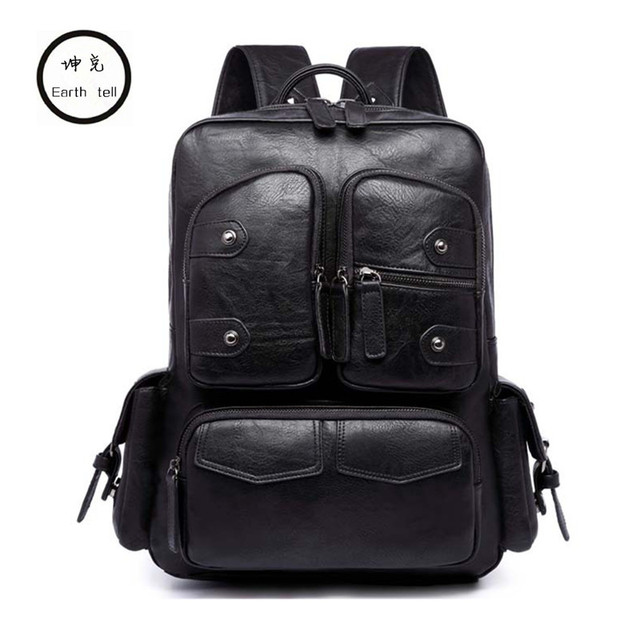 Simple Rivet Large Capacity Mens Leather Backpack For Travel Casual Men Daypacks Casual computer bag mochila school Backpacks