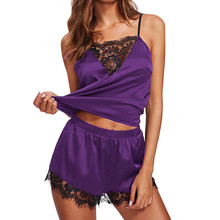 Women Sleepwear Sleeveless Strap sexy  Lace Trim Satin Cami Top Pajama Sets  Plus Size Cami Top and Shorts 2019 new hot #9 velvet lace trim slit cami dress