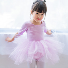 2019 girls summer dress mesh patchwork girl dance clothes children tutu purple ballet for 2~7 age baby