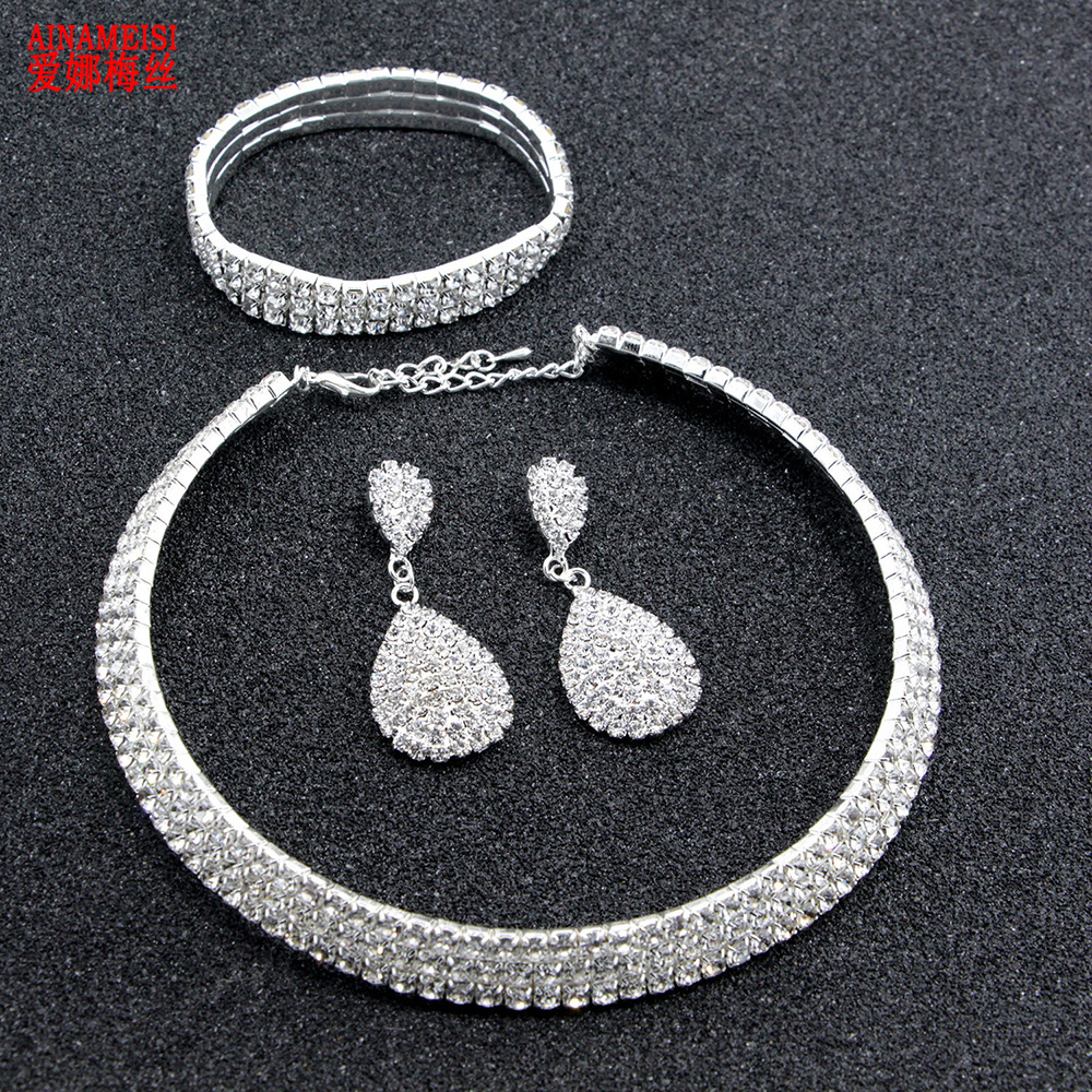 AINAMEISI Luxury Crystal Bridal Jewelry Sets Classic Rhinestone Necklace Earrings Bracelet Silver Wedding Jewelry Set For Women