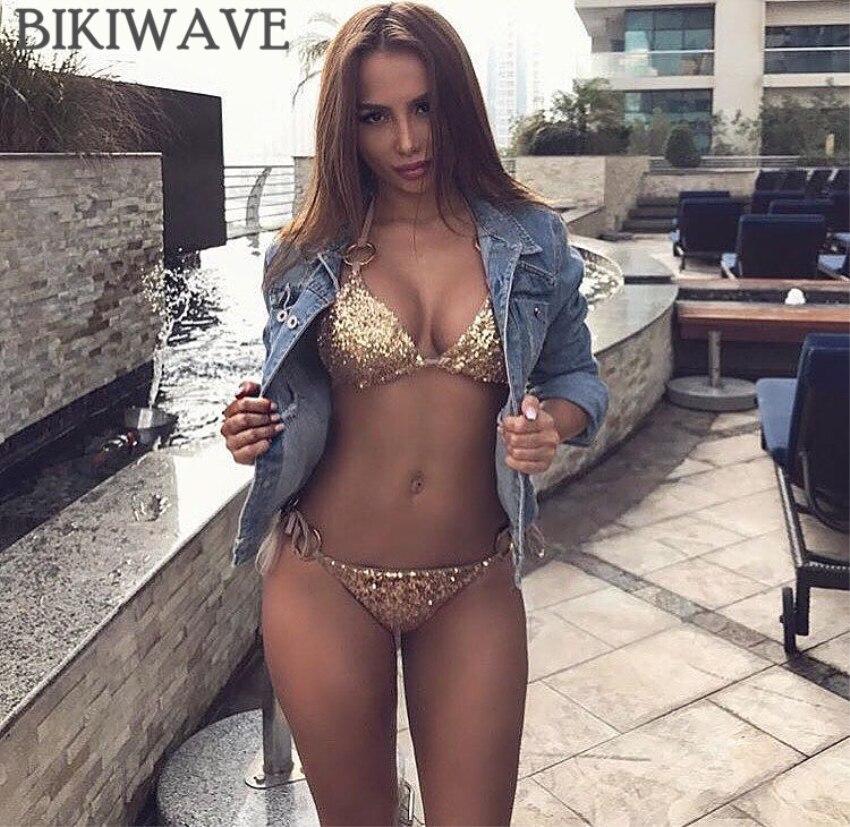 2018 Sexy Bikinis Sequins Golden Women Bandage Bikini Set Push Up Padded Strappy Swimsuit Backless Brazillian Summer Swimwear