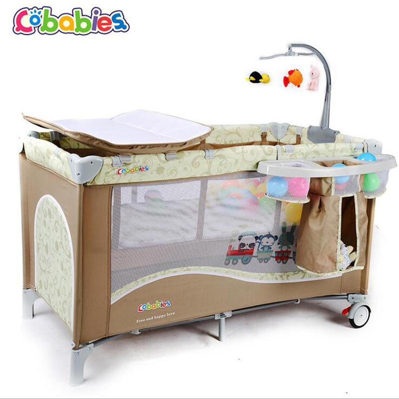 2017 New Portable Baby Crib Multi-functional Folding with Diapers Changing Table Travel Child Game Beds For home hang