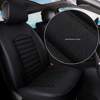 kalaisike Leather plus Flax Universal Car Seat covers for Mitsubishi all models pajero dazzle ASX lancer pajero sport outlander
