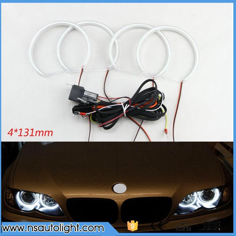 4x131mm 4Pcs/set White Car smd Halo Rings Angel Eye Light Headlight Kits for BMW E36 E38 E39 E46 E60 E92 with projector
