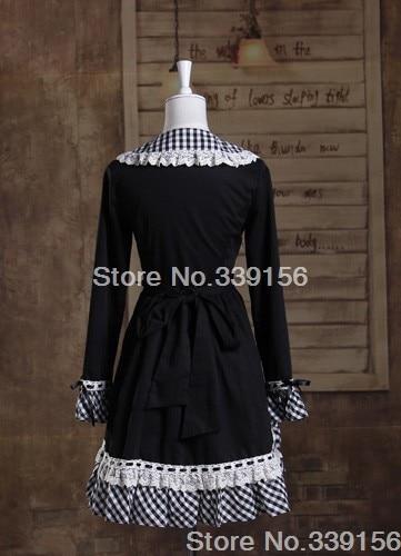 Para Disfraces Señoras Negro Halloween Gratis De Las Dulce A Envío Larga Mujer Lolita Cuadros Algodón Manga PO84q