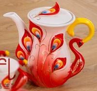 Creative Peacock Cup European Coffee Teapot Ceramic Teaset Kettle 800ml