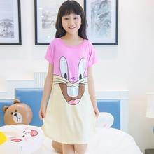 Летняя одежда для сна для девочек, милые короткие пижамы, ночные рубашки из полиэстера с милым принтом, одежда для сна для крупных девочек, верхняя одежда, ночная рубашка