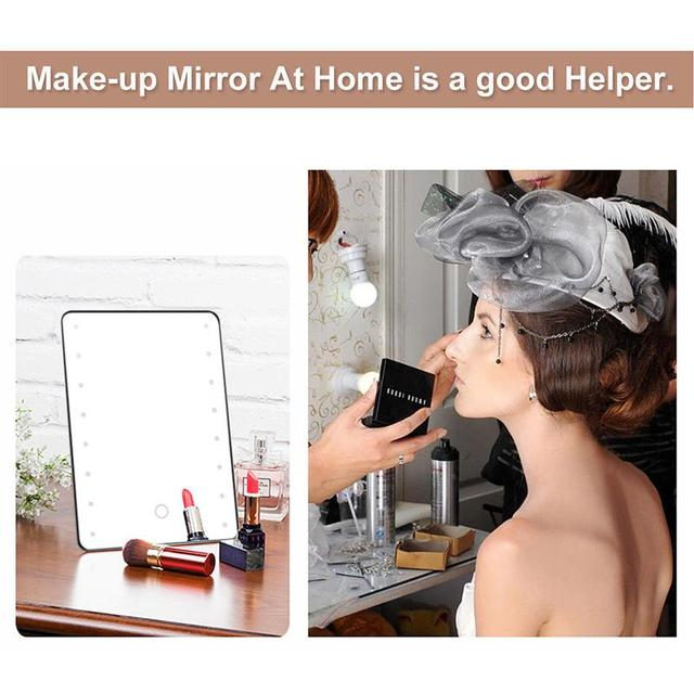 Miroir de maquillage avec 16 led miroir cosmétique   Avec interrupteur tactile, miroir de vanité à piles avec support pour table