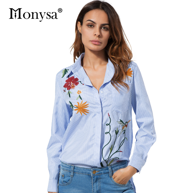 Flower Embroidery Blouses Women Fashion Trends Collar Long Sleeve Shirt Casual Striped Cotton And