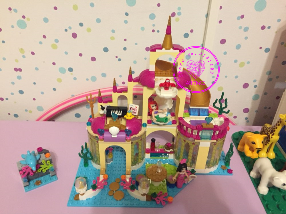BELA model Building Blocks Princess Mermaid  Ariel's Undersea Palace Buildable Compatible with Lego kid gift set girls Princess new undersea palace building blocks set 400pcs bricks toys for girls compatible with lego princess toys block girls toy gift