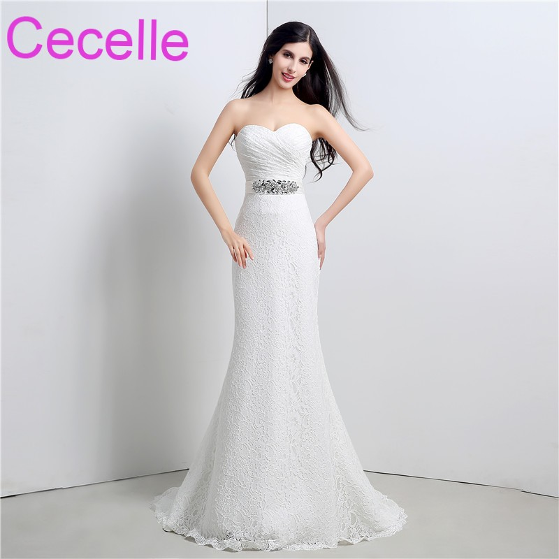 Mermaid Long Wedding Dresses 2019 Sweetheart Simple Elegant Lace Country Wedding Gown With Crystals Sash Western Bridal Gowns