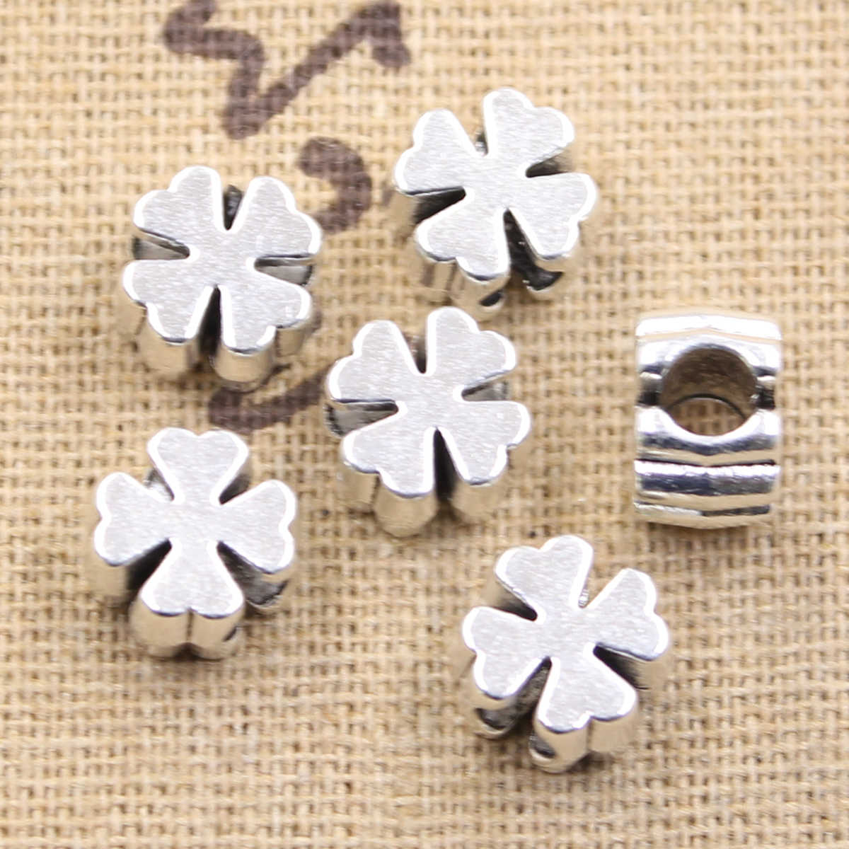 6pcs 10x10x7mm cross clover 4mm big hole bead charm fits antique silver charm bracelets Wholesale