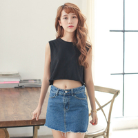 Woman Skirts Summer 2015 Casual Brief Denim Skirt High Waist Slim Package Hip Blue Jeans