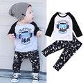 2 pcs bebê Recém-nascido Da Criança Infantil Crianças Meninos Roupa Do Bebê Set T-shirt Tops de Manga Longa de Algodão + Calça Outfits Vestuário Set