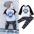 2pcs Newborn Toddler Infant Kids Baby Boys Clothes Set T-shirt Tops Long Sleeve Cotton + Pants Outfits Clothing Set