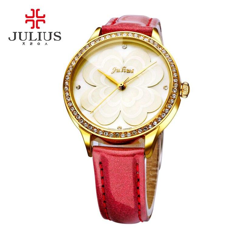 줄리어스 핑크 공주 꽃 시계 로맨틱 선물 whatch 여성 젤리 라인 석 브랜드 시계 레이디 소녀 레트로 시계 시계 JA 803-에서여성용 시계부터 시계 의  그룹 3