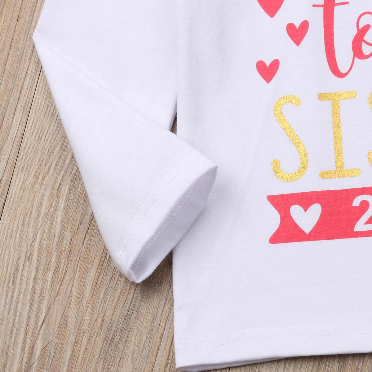 Crianças Bebê Meninas 2019 T-shirt Criança Grande Irmã Blusa de Algodão Tops de Manga Longa Carta de Impressão Moda Roupas Tees Roupa